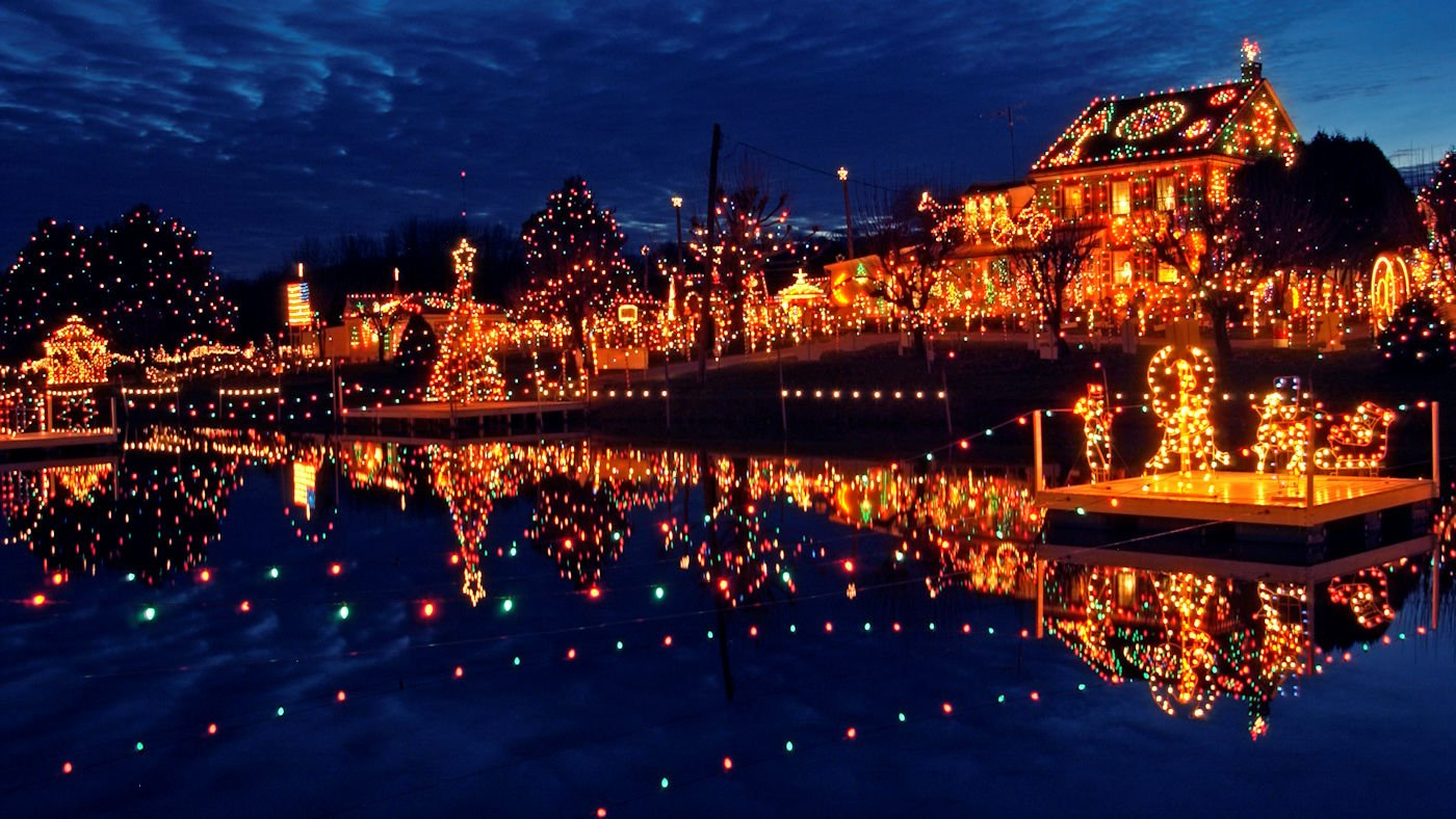 Koziar's Christmas Village Lake Reflected